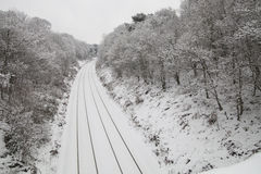 Train tracks in the snow Royalty Free Stock Photography