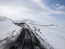 Train tracks on snowy landscape Royalty Free Stock Images