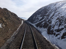 Train tracks on snowy mountains Stock Images
