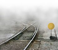 Train Tracks Split Stock Photo