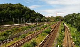 Train tracks. In the sunlight, surrounded by trees stock images