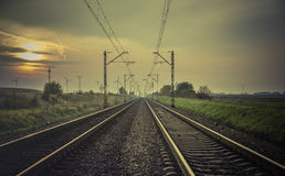 Train tracks at sunset Royalty Free Stock Image