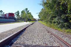 Train tracks to the depot. This is a photo of train tracks leading to the passenger depot royalty free stock photos