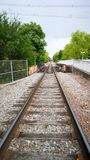 Train tracks to somewhere. Train tracks leading of into the distance somewhere Stock Image