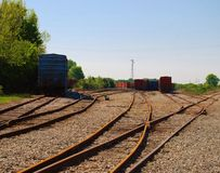 Train Tracks and Train Cars Stock Images