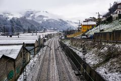 Train tracks. Covered  snow in Spain Stock Images