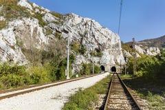 Train Tracks in Bulgaria ,Iskar Gorge  Royalty Free Stock Photography
