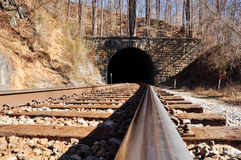 Train tracks and tunnel Stock Photography