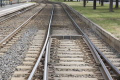Train Tracks in Urban Setting, Berlin, Stock Photo