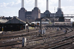 Train tracks at Victoria. Train tracks with Battersea power station in the background Stock Photography
