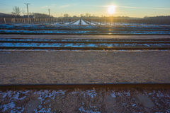 Train tracks with vineyard in winter Royalty Free Stock Image
