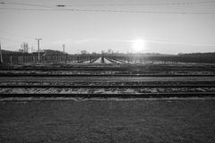 Train tracks with vineyard in winter Stock Image