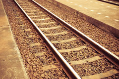 Train tracks. Vintage  with stone royalty free stock photography