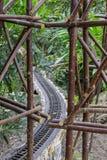 Train tracks winding through lush tropical plants, wooden scaffo. Train tracks winding through lush tropical plants, rustic wooden scaffolding Stock Photography