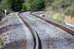 Train Tracks Winding a Mill Royalty Free Stock Photo