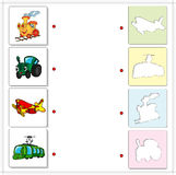 Train, tractor, airplane and tram. Educational game for kids Royalty Free Stock Image