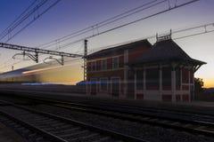 Train trail at Mingorria train station, Avila, Spain. Royalty Free Stock Photos