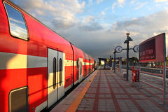 Train on the train station. Royalty Free Stock Images