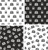 Train and Train Station Aligned & Random Seamless Pattern Set Stock Images