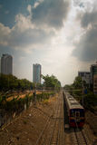 Train and the train track slums of central Jakarta, Indonesia Royalty Free Stock Photography