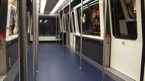 Train, Tram, Subway Cabin, Mass Transit. Stock video of a subway car stock footage