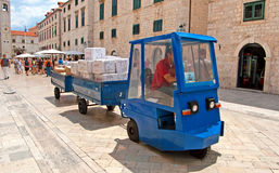 Train for transportation of parcels of the main street in Dubrovnik, Croatia Royalty Free Stock Photography
