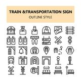 Train Transportation sign pixel perfect icons set in Outline style vector illustration