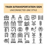 Train Transportation sign pixel perfect icons set in Outline unconnected line style stock illustration