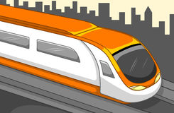 Train, Transportation, Travel. Fast train with buildings background. Best for Transportation, Travel, City, Futuristic, Urbanity Concept Royalty Free Illustration