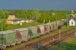 Train transporting cargo. Train transporting in Gomel, Belarus Stock Images