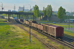 Train transporting cargo. Train transporting in Gomel, Belarus Stock Image