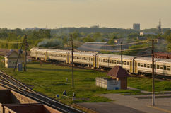 Train transporting cargo. Train transporting in Gomel, Belarus Royalty Free Stock Photos