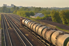 Train transporting cargo. Train transporting in Gomel, Belarus Stock Photos