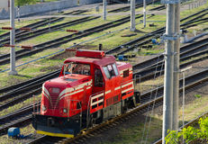 Train transporting cargo. Train transporting in Gomel, Belarus Royalty Free Stock Images