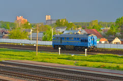 Train transporting cargo. Train transporting in Gomel, Belarus Stock Photo