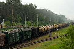 Train transporting cargo. Train transporting in Gomel, Belarus Royalty Free Stock Photography