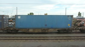 Train transporting cars. FRANCE - CIRCA 2015: A train transporting cars is seen on the rail tracks of the freight train terminal for transport across Europe and stock video