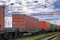 The train transports containers Stock Image