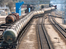 The train transports oil in tanks Royalty Free Stock Photos