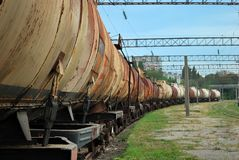 Train transports old tanks Royalty Free Stock Photo
