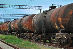 Train transports old tanks Royalty Free Stock Photography