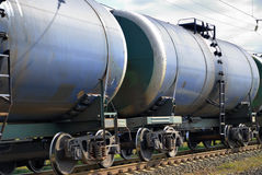 The train transports tanks. With oil and fuel Stock Photo