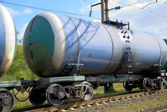 The train transports tanks. With oil and fuel Stock Images