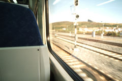 Train travel. A view through a glass in a train travel Royalty Free Stock Photography