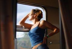Train travel. Woman travel train window journey Stock Photography
