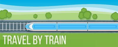 Train travel banner Royalty Free Stock Photos