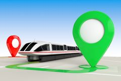 Train Travel Concept. Super High Speed Futuristic Commuter Train from above of Abstract Navigation Map with Target Map Pointers. Train Travel Concept. Super royalty free illustration