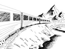 Free Train Travel Graphic Black White Landscape Sketch Illustration Vector Royalty Free Stock Images - 202177799