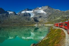 Train travel. In the Swiss mountains stock images