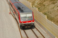 Train traveling in Bavaria. Past a new track under construction, Germany Stock Images